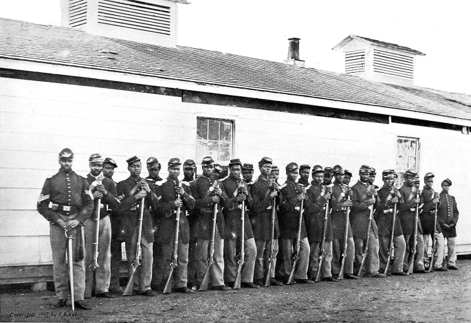 Soldiers of Company E, 4th United States Colored Infantry, ca. 1864