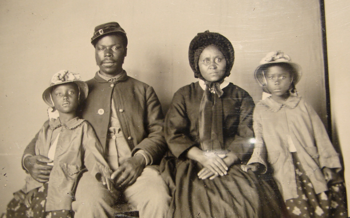 Samuel Smith, who served with the 119th US Colored Infantry, with his wife and daughters after the war